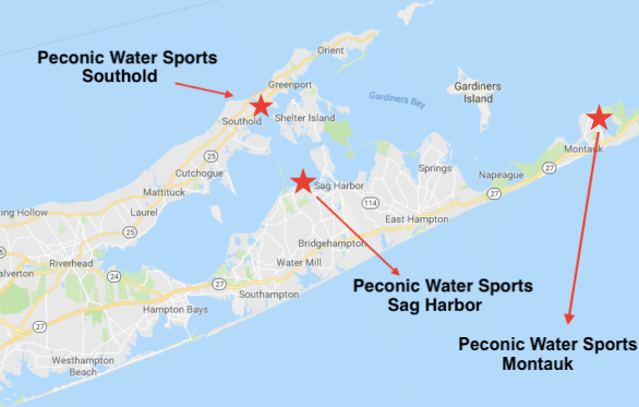 Peconic Water Sports Locations Map Long Island - Southold, Sag Harbor and Montauk