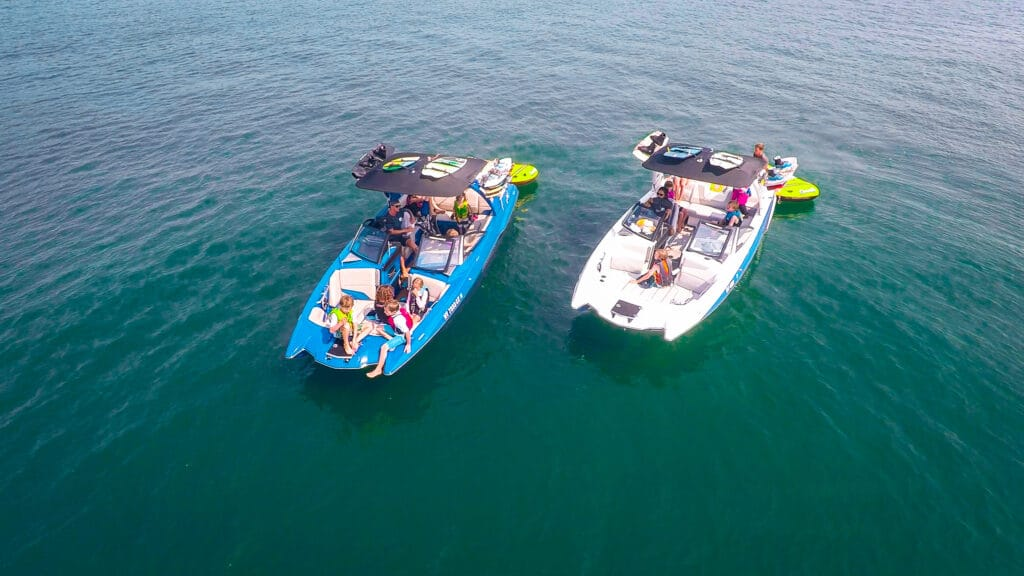 birthday party celebrating fun with peconic water sports on brand new Malibu wakeboard wakesurf boats