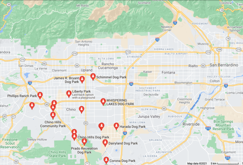 A Google Map with pins of neighborhood dog parks in Chino, California