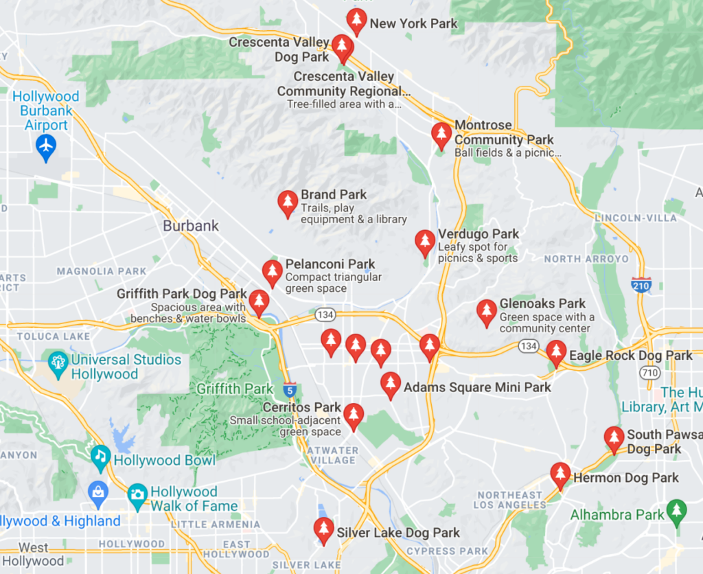 A Google Map with pins of neighborhood dog parks in Glendale, California