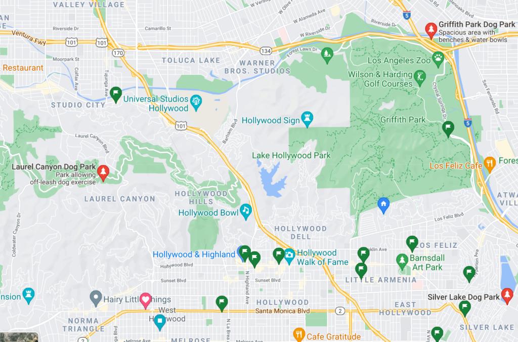 A Google Map with pins of neighborhood dog parks in La Canada Flintridge, California