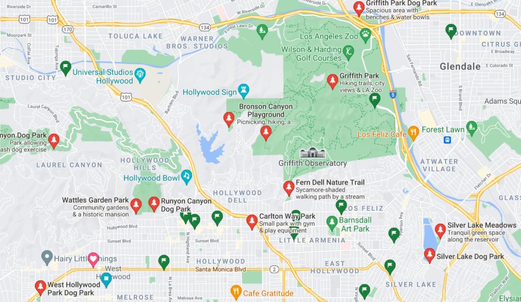 A Google Map with pins of neighborhood dog parks in Los Feliz, Los Angeles, California