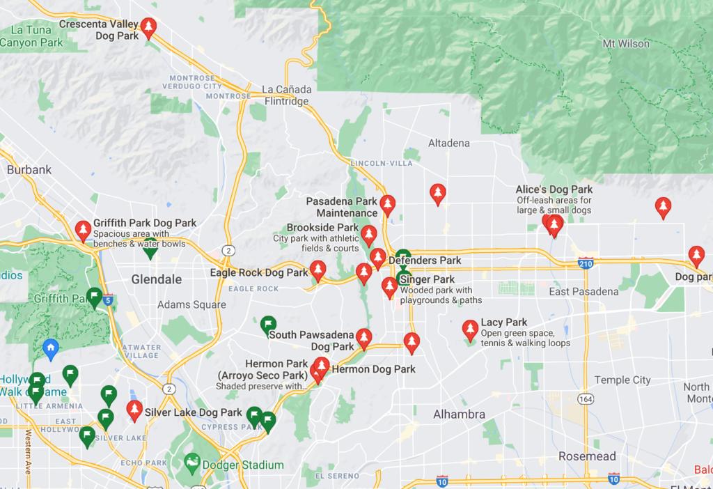 A Google Map with pins of neighborhood dog parks in Pasadena, California