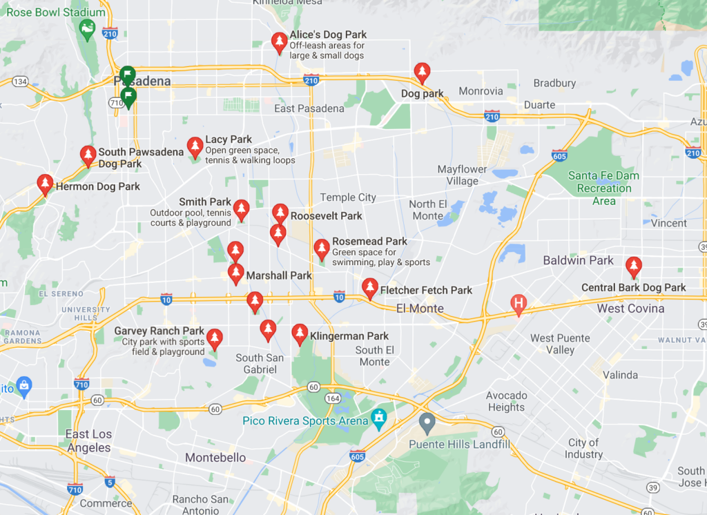 A Google Map with pins of neighborhood dog parks in San Gabriel, California