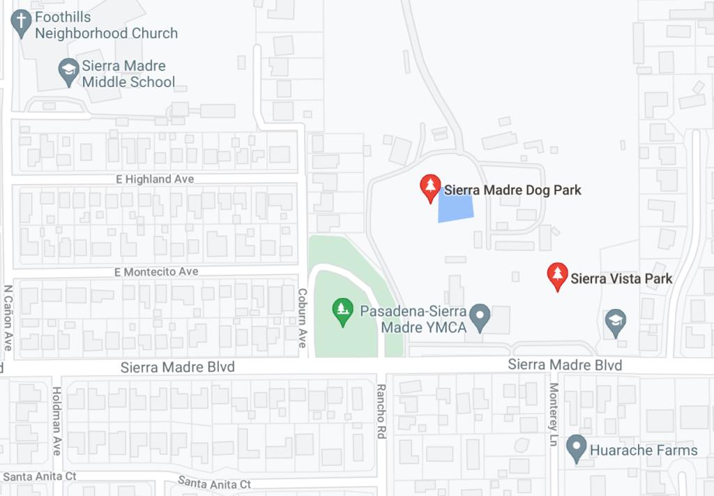 neighborhood map of dog park in Sierra Madre