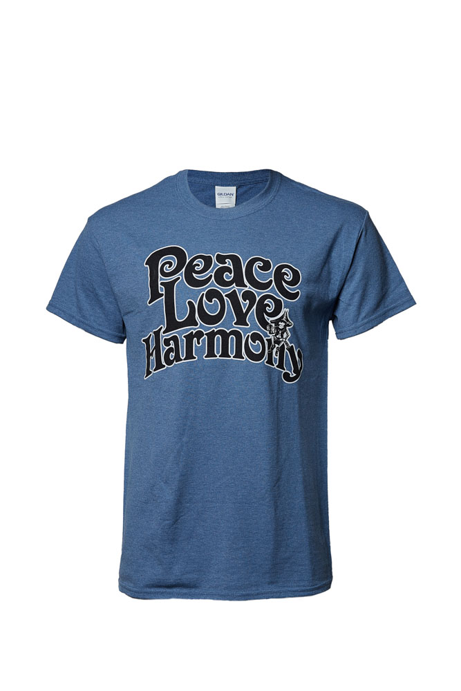 Peace Love and Harmony Blue T-Shirt