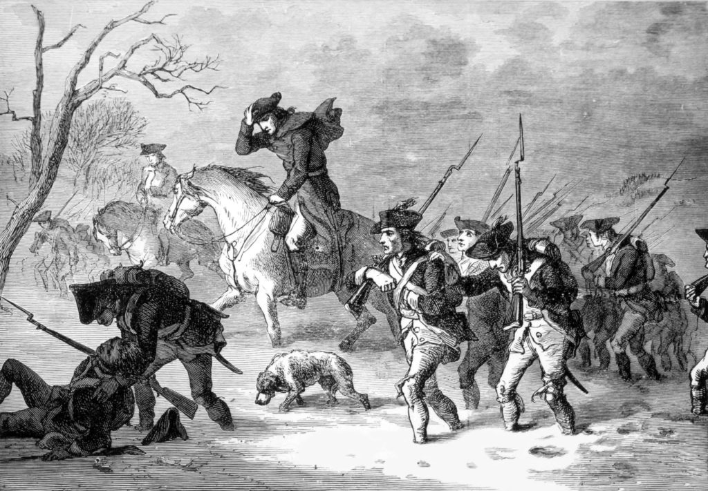 General George Washington's army marching to Valley Forge, Pennsylvania, 1777