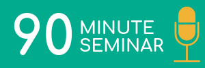 Turquoise rectangle with yellow microphone icon. Link to 90 minute session logistics.