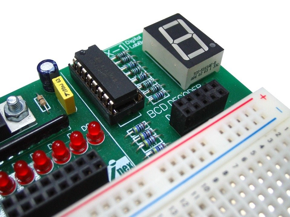 A PCB with through-hole mounting
