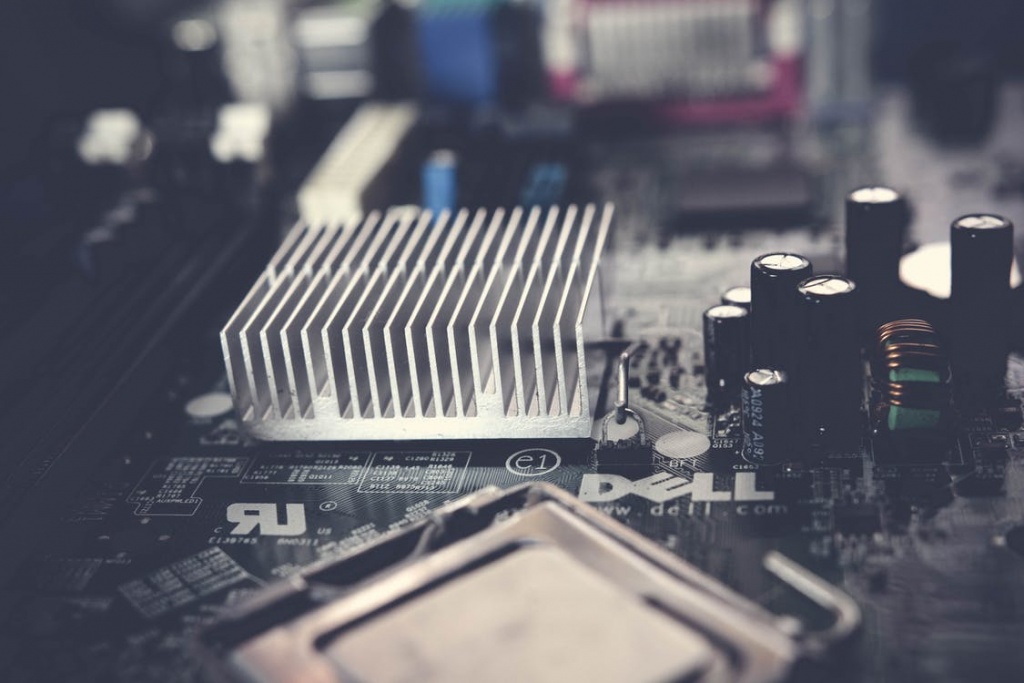 A close-up of a circuit board