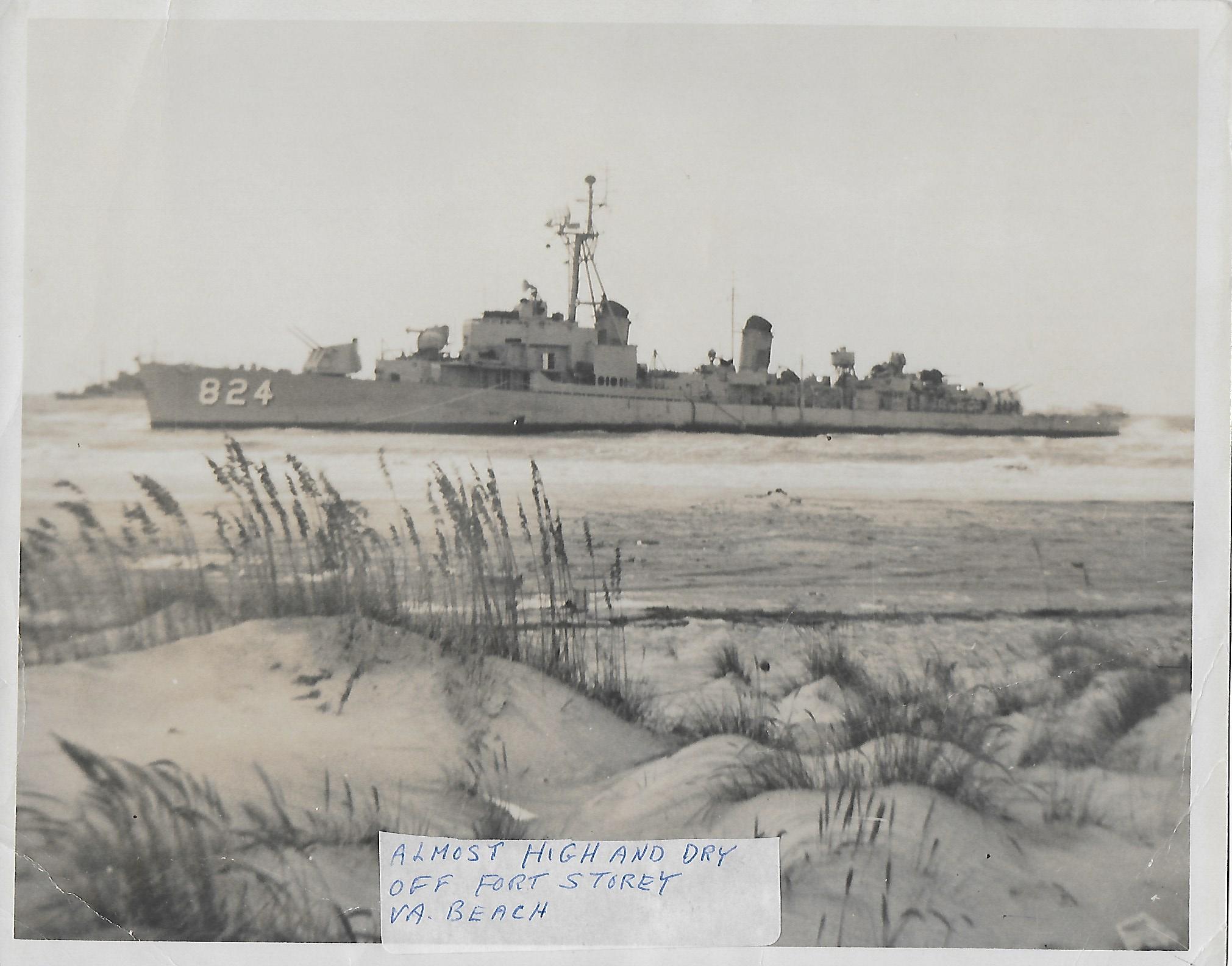 USS Basilone Grounded at Fort Story, VA
