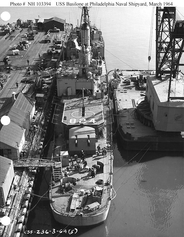 Overhead view from astern.  Mar, '64 - Philadelphia Naval Shipyard