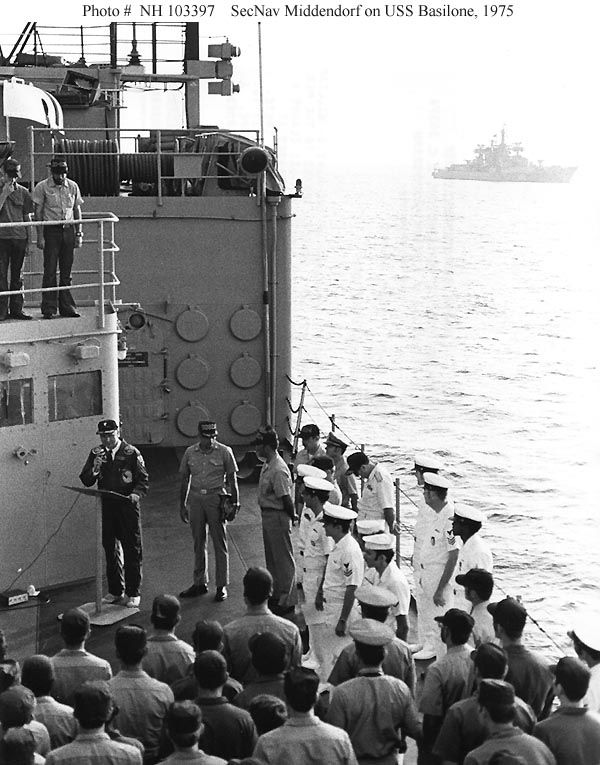 SecNav, J. William Middendorf II speaks to crew in Med, Sep. '75