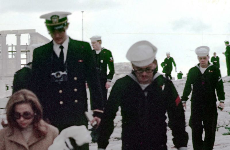 Tour guide and sailors acropolis 1969