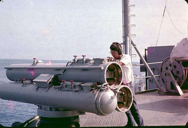 slide 1 Thomas Firing practice torpedo at a sub 1969