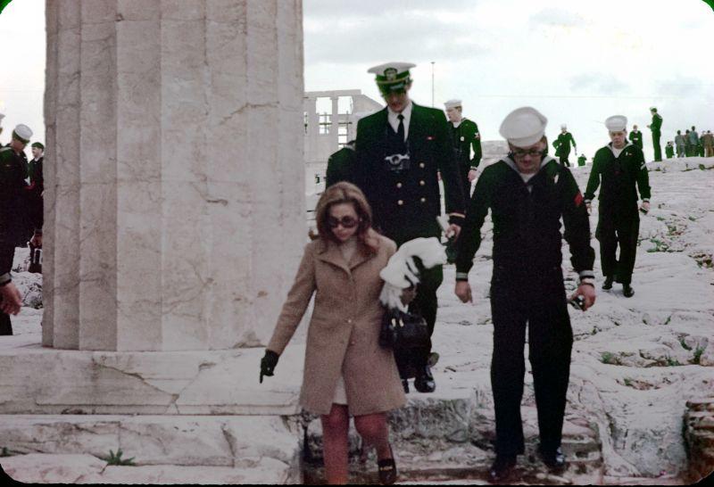 tour guide and sailors on acropolis dec 1969 5