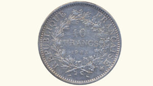 """Francia 10 Nuevos Francos """"Hércules"""", 1965, VF"""