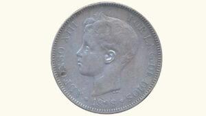 """España 5 Pesetas """"Alfonso XIII (Rizos)"""", 1898, VF"""
