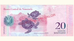 Venezuela 20 Bolívares Fuertes, Febrero-03-2011, Serie Q8 Muestra Sin Valor UNC