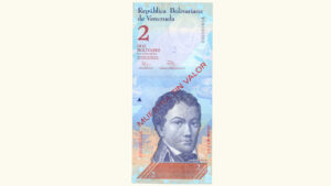 Venezuela 2 Bolívares Fuertes, Agosto-19-2014, Serie V8 Muestra Sin Valor UNC