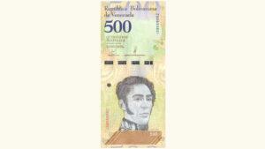 Venezuela 500 Bolívares Soberanos, Mayo-18-2018, Serie Z8 Reposición (Primer Intervalo, Cinta de Seguridad Brillante) UNC