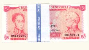 VENEZUELA 5 Bolívares, Enero-29-1974, Serie D7, AU+/UNC