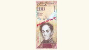 Venezuela 100 Bolívares Fuertes, Febrero-03-2011, Serie J8 Muestra Sin Valor UNC