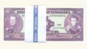 VENEZUELA 10 Bolívares, Junio-05-1995 Serie Q8 Fajo AU+/UNC