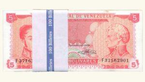 VENEZUELA 5 Bolívares, Sept-21-1989, Serie F8 Fajo UNC