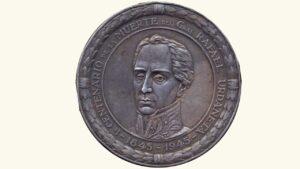 "VENEZUELA Medalla ""Centenario de la Muerte del Gral. Rafael Urdaneta"", 1845-1945, XF"