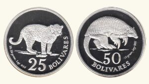 "VENEZUELA 25-50 Bolívares ""Fauna Venezolana Cachicamo y Jaguar"" (Proof), 1975, AU/UNC"