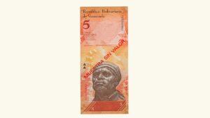Venezuela 5 Bolívares Fuertes, Agosto-19-2014, Serie T8, Muestra Sin Valor, UNC.