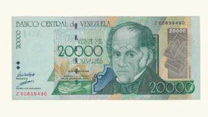 VENEZUELA 20000 Bolívares, Agosto-24-1998 Serie Z8 AU (REPOSICION)