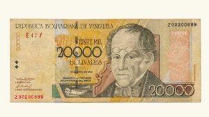 VENEZUELA 20000 Bolívares, Mayo-25-2004, Serie Z8 (Reposición) F/VF