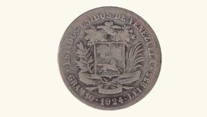 Venezuela 2 Bolívares, 1924, VG/F