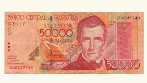 VENEZUELA 50000 Bolívares, Agosto-24-1998 Serie Z8 F/VF (REPOSICION)