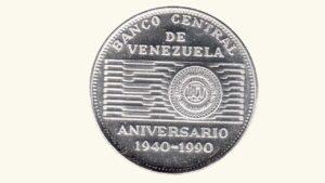 """VENEZUELA 50 Bolívares """"50 Aniversario del Banco central de Venezuela, 1940-1990"""" 1990 AU"""