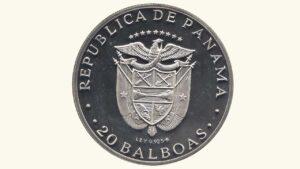 PANAMÁ 20 Balboas, En Honor al Libertador SimónBolívar, 1972 AU