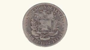Venezuela 2 Bolívares, 1902, G/VG