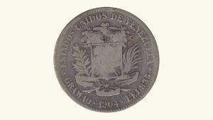 Venezuela 2 Bolívares, 1904, VG/F