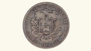 Venezuela 5 Bolívares, 1919, F