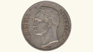 VENEZUELA 5 Bolívares, 1921, VF+