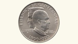 "E.E.U.U Silver Dollar ""Eisenhower Centennial"", 1890-1990 UNC"