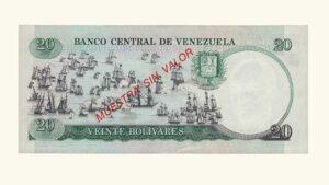 """VENEZUELA 20 Bolívares, Octubre-20-1987, A8, AU+/ UNC """"Muestra Sin Valor"""" (CONMEMORATIVO)"""