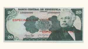 "VENEZUELA 20 Bolívares, Abril-23-1974, Serie A7 AU ""ESPECIMEN SIN VALOR"""