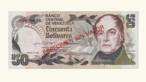 """VENEZUELA 50 Bolívares, Enero-27-1981, AU+/ UNC """"ESPECIMEN SIN VALOR""""  (CONMEMORATIVO)"""