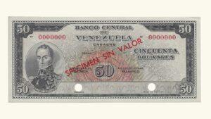 "VENEZUELA 50 Bolívares, 1961-1963 AU+/ UNC ""SPECIMEN SIN VALOR"""