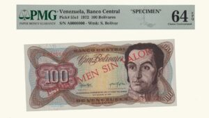 "VENEZUELA 100 Bolívares, Noviembre-21-1972, Serie A7 PMG64 ""ESPECIMEN SIN VALOR"""