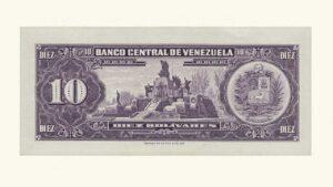 VENEZUELA 10 Bolívares, Enero-27-1970, Serie Q7, AU+/UNC