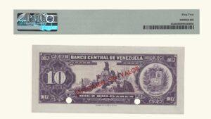 "VENEZUELA 10 Bolívares, 1963-1970, PMG64 ""ESPECIMEN SIN VALOR"""